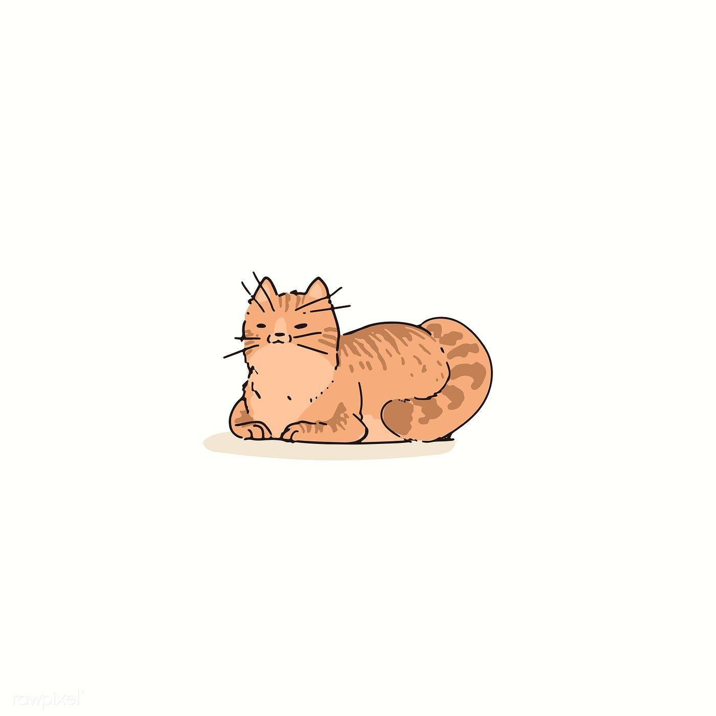 Download Premium Vector Of Orange Cat Doodle Element