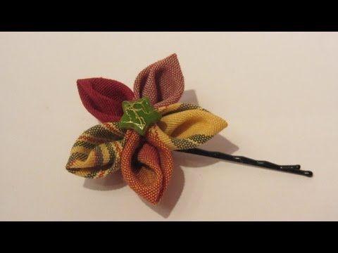 Flores de tela para el cabello con pétalos en punta. Flower hair clip. 5c1a627bdba1