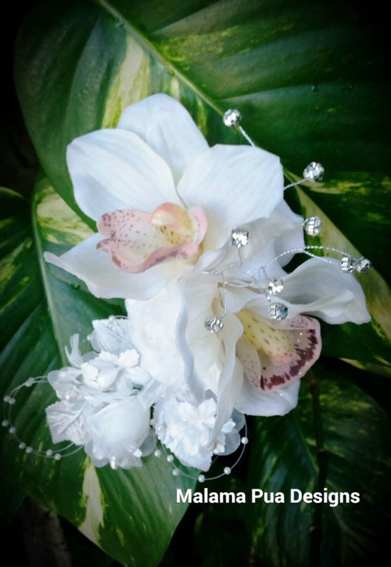 BRIDAL HAIR CLIP  Ivory Real touch Orchids Pearls by MalamaPua