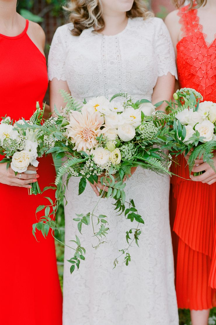 Peach Dahlia Lush Bridal Bouquet With Green And White Flowers