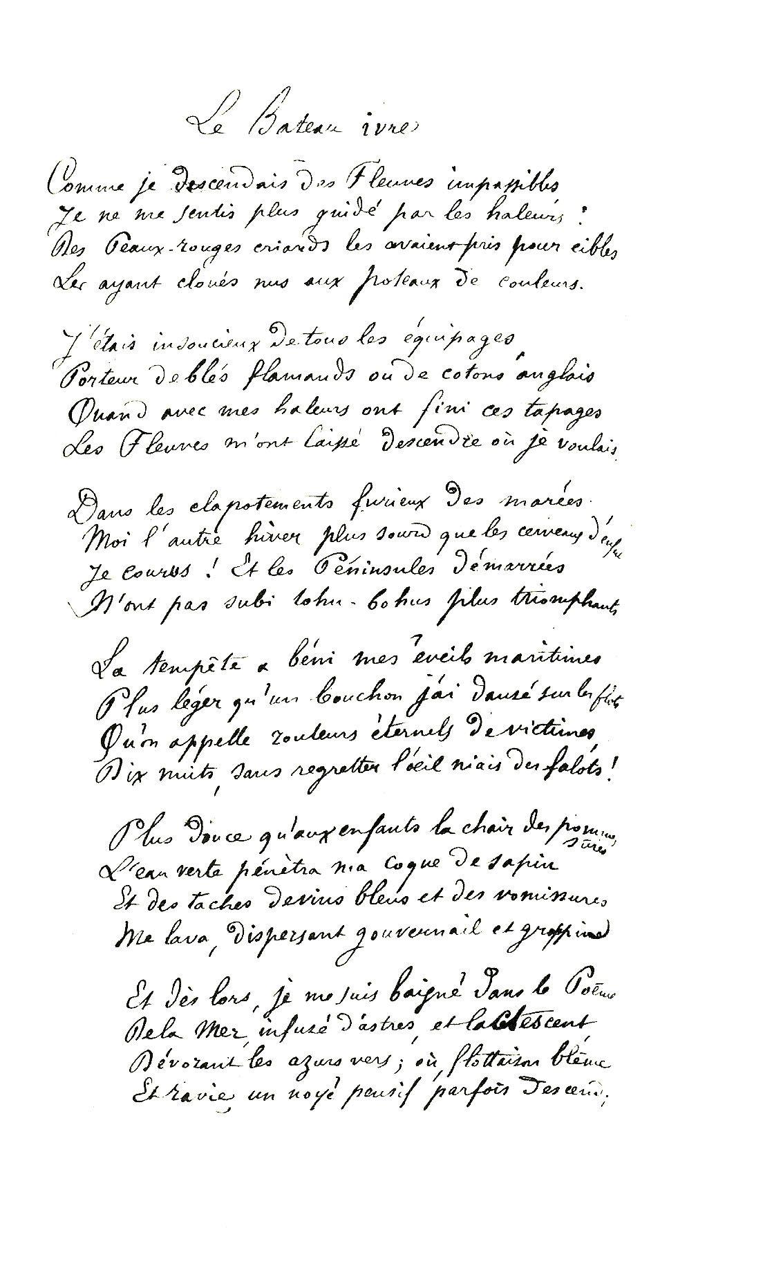 Le Bateau Ivre Arthur Rimbaud Comme Je Descendais Des