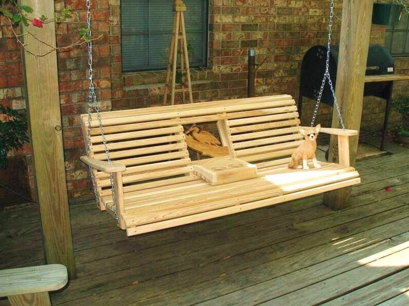Cypress Swing W Cup Holder Porch Swing Frame Porch