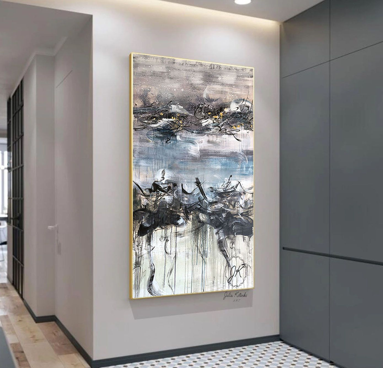 Oversized Canvas Art, Extra Large Wall Art, Blue Wall Decor