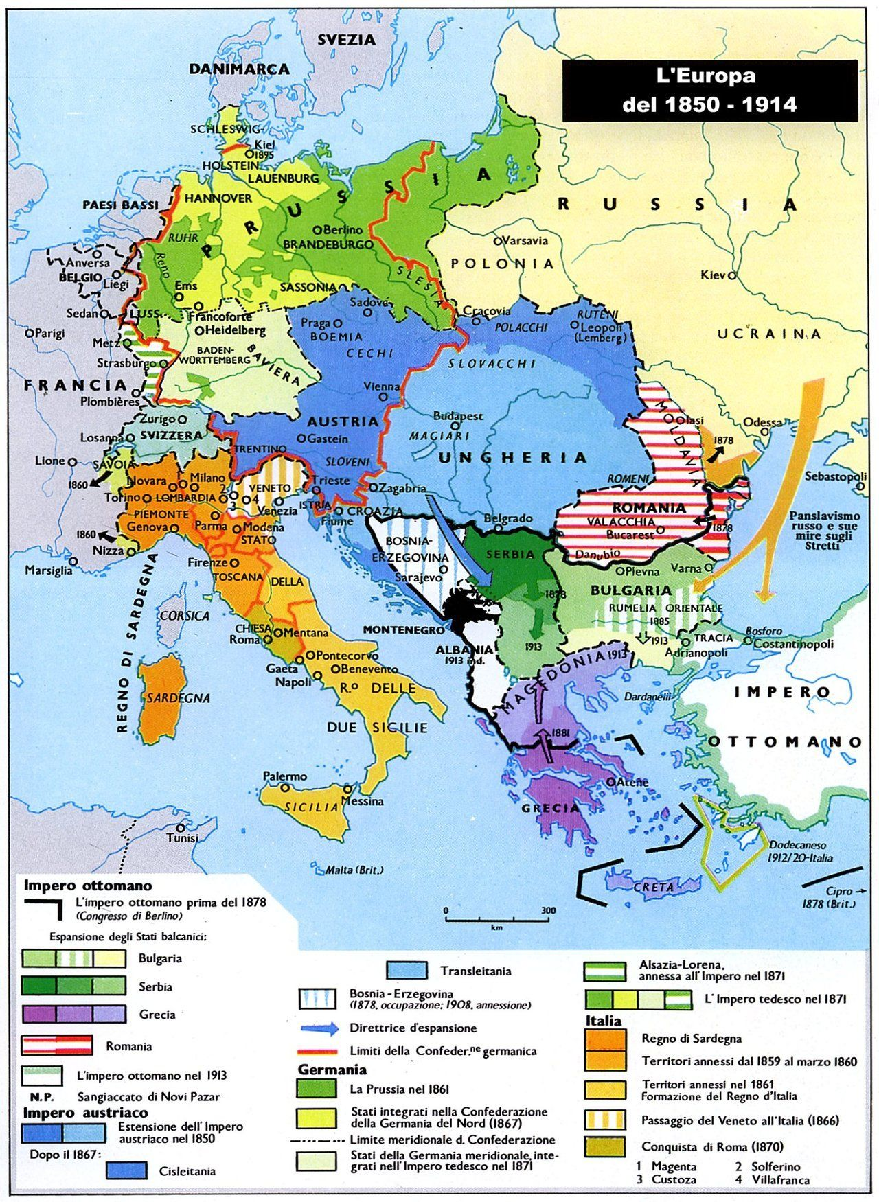 Central and Southern Europe 1850-1914 (Italian). | maps