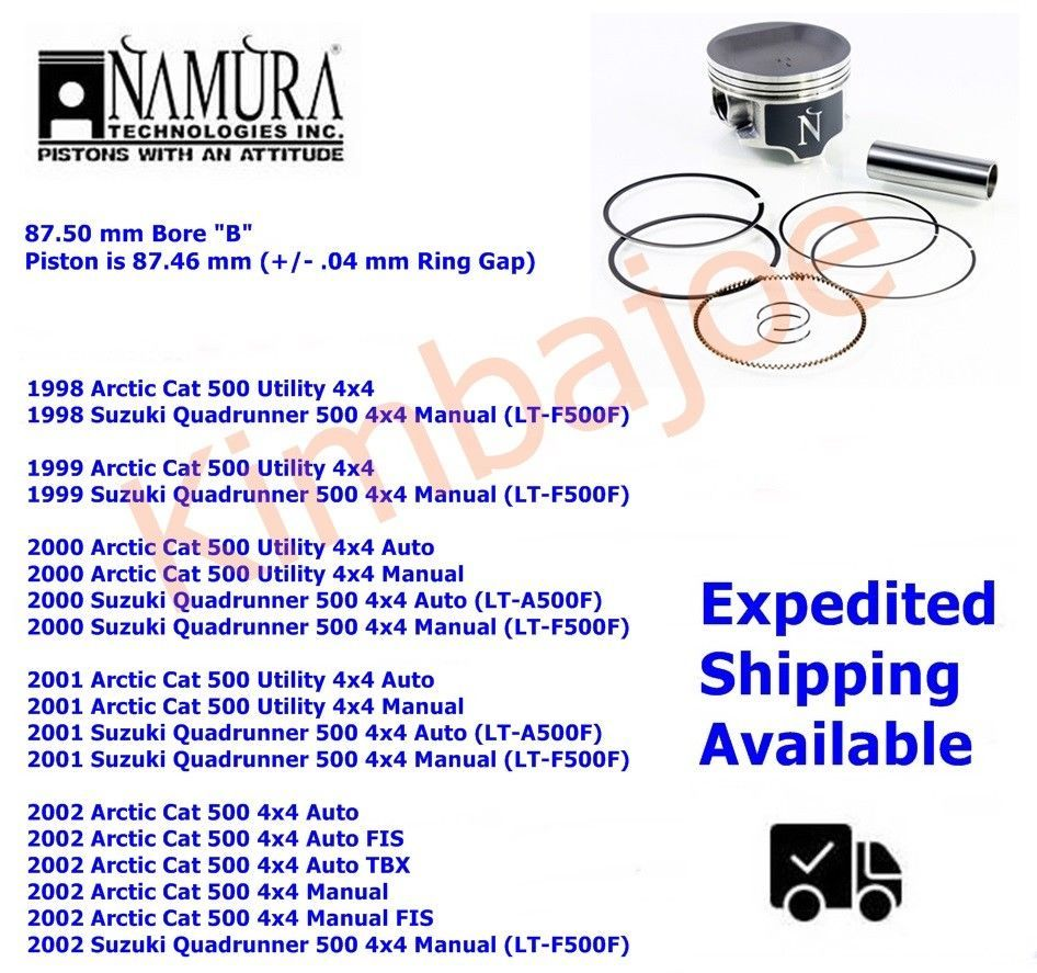 "1998-2002 Arctic Cat Suzuki Quadrunner 500 Namura 87.50 mm Bore ""B"" Piston"