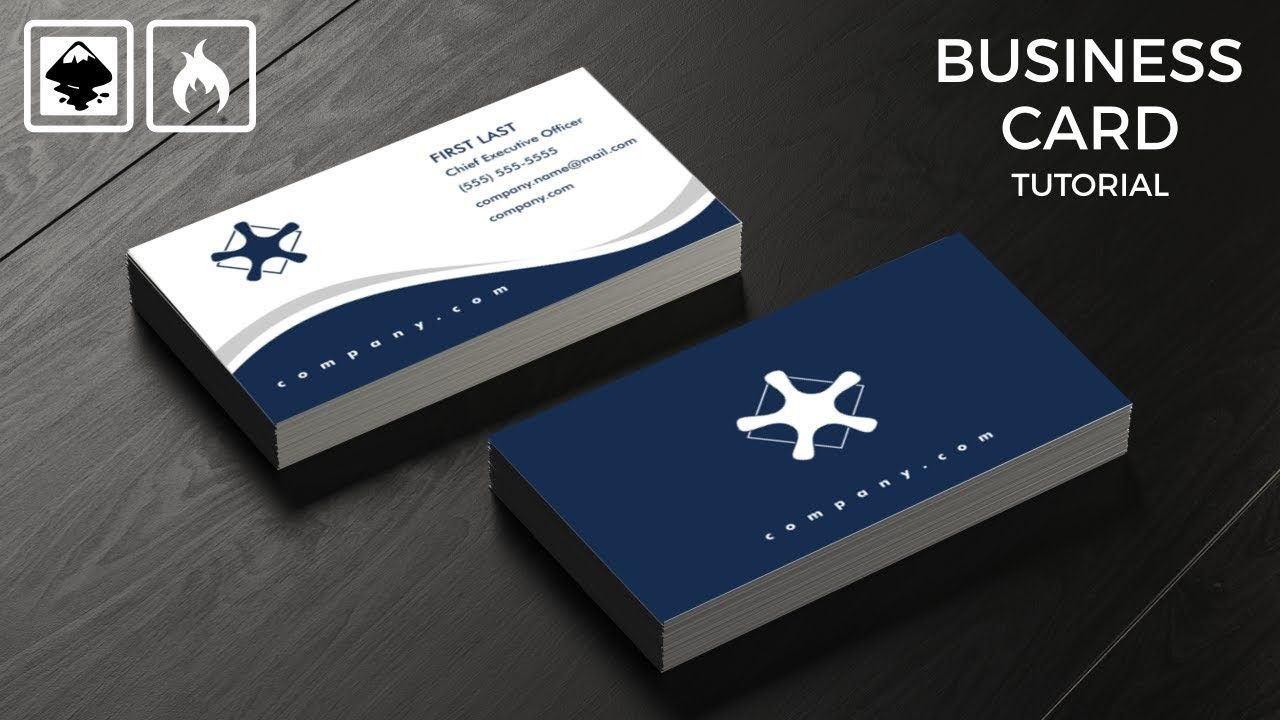 Inkscape Tutorial Create A Business Card Design Back And Front Wavy Blue Business Card Design Card Design Learning Graphic Design