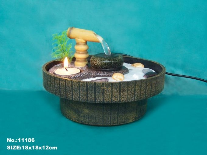 Zen Garden Water Fountain With Sand Rocks And Tea Candle Water