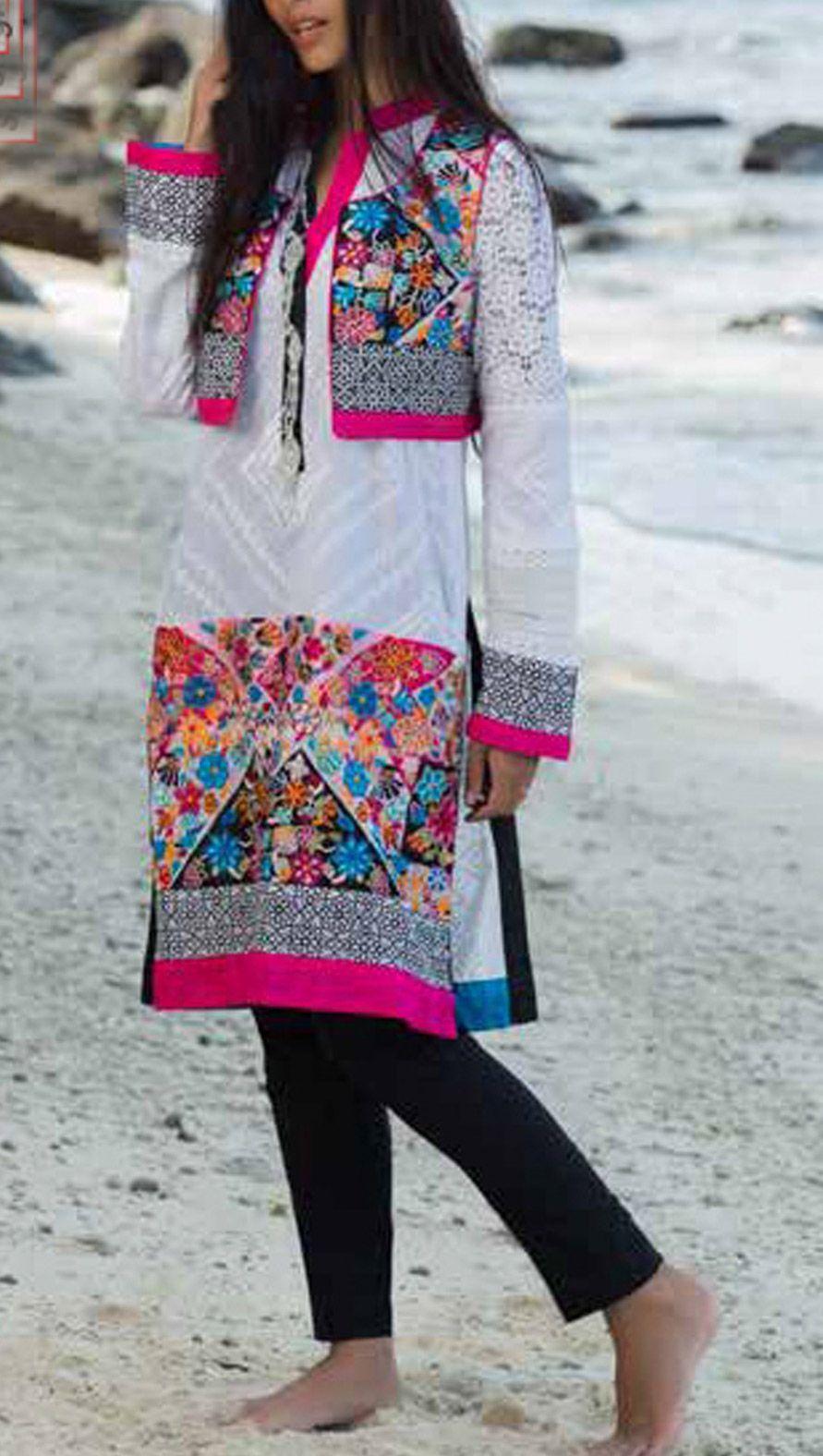 Buy whitepink printed cotton lawn kurti by house of zunn lawn