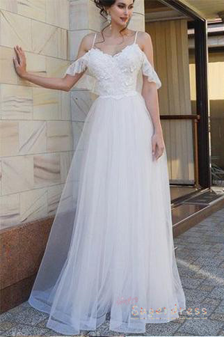 A Line Cold Shoulder Lace Top Wedding Dress With Open Back From Sugerdress Lace Top Wedding Dress Lace Top Wedding Top Wedding Dresses