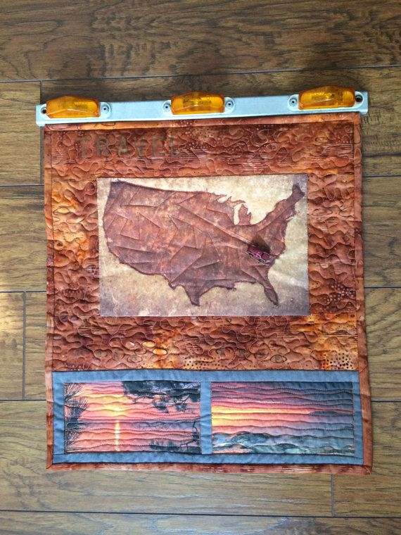 Americana-Themed Batik Art Quilt Wall Hanging by QuiltedFox