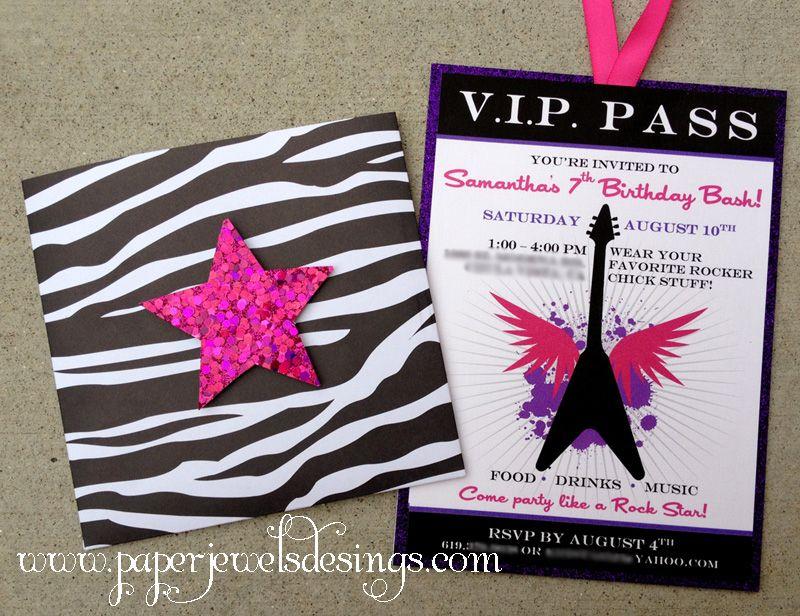 Rock Star Party VIP Pass Invitation paperjewelsdesigns – Rockstar Party Invites