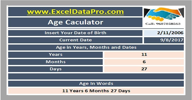 Download Simple Age Calculator Excel Template HR \ Payroll - microsoft excel payroll template