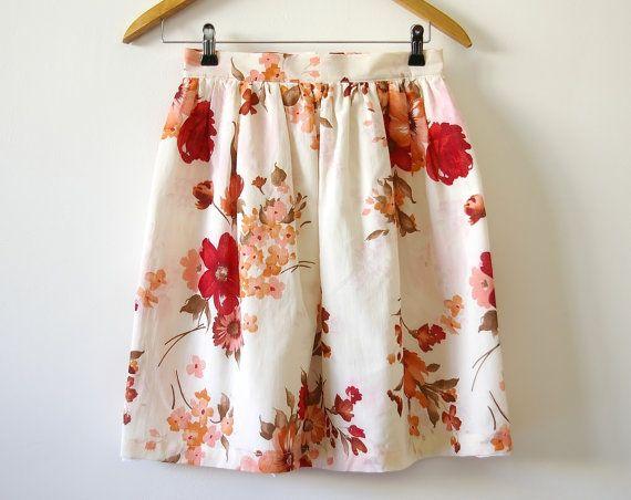 Vintage inspired floral skirt Red magnolia by Mokkafiveoclock, $45.00
