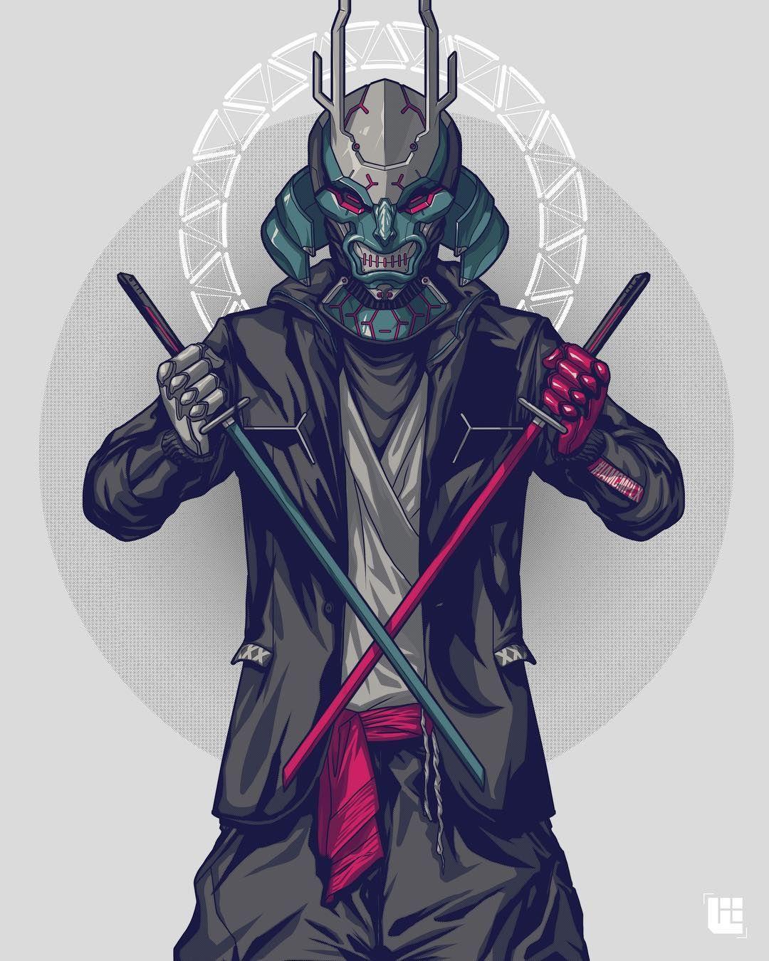 I Bathe In The Toxic Venom Of Those Dead Snakes Godcomplex Ryujin Iamcmplx Samurai Art Samurai Artwork Cyberpunk Art