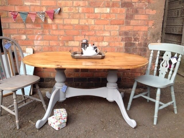 country cottage dining room. Pretty Solid Pine Oval French Grey Double Pedestal Country Cottage Dining Table £169.00 Room
