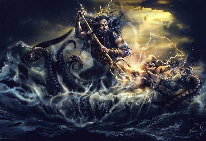'God of the Sea' - Photo by Nadège Henry. ¤ MUA by Karen. Digital Art by Nina Y. Model: François TElombre de Chalier.