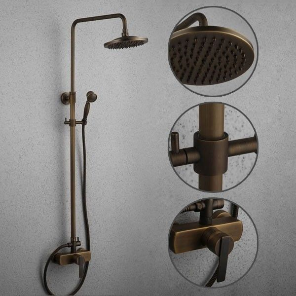 Antique Brass Tub Shower Faucet with 8 inch Shower Head + Hand ...