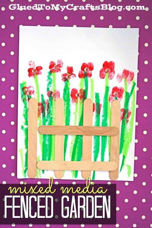 Mixed Media Fenced Garden – Kid Craft Idea #gardencraft