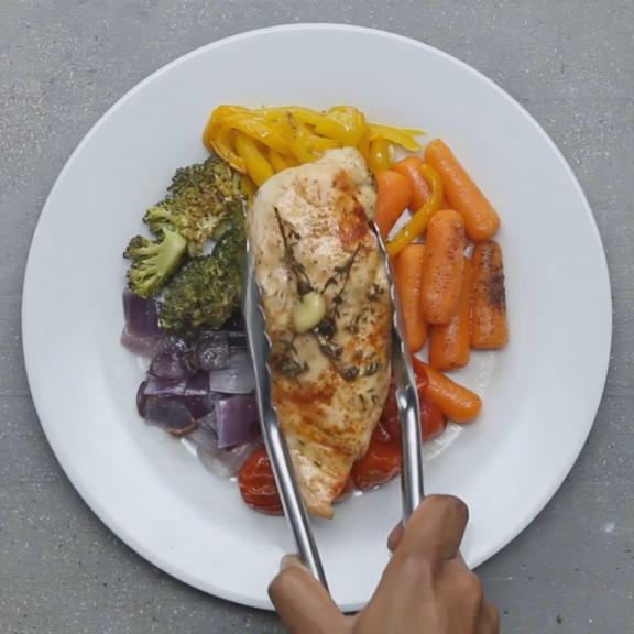 Easy Chicken And Rainbow Vegetables