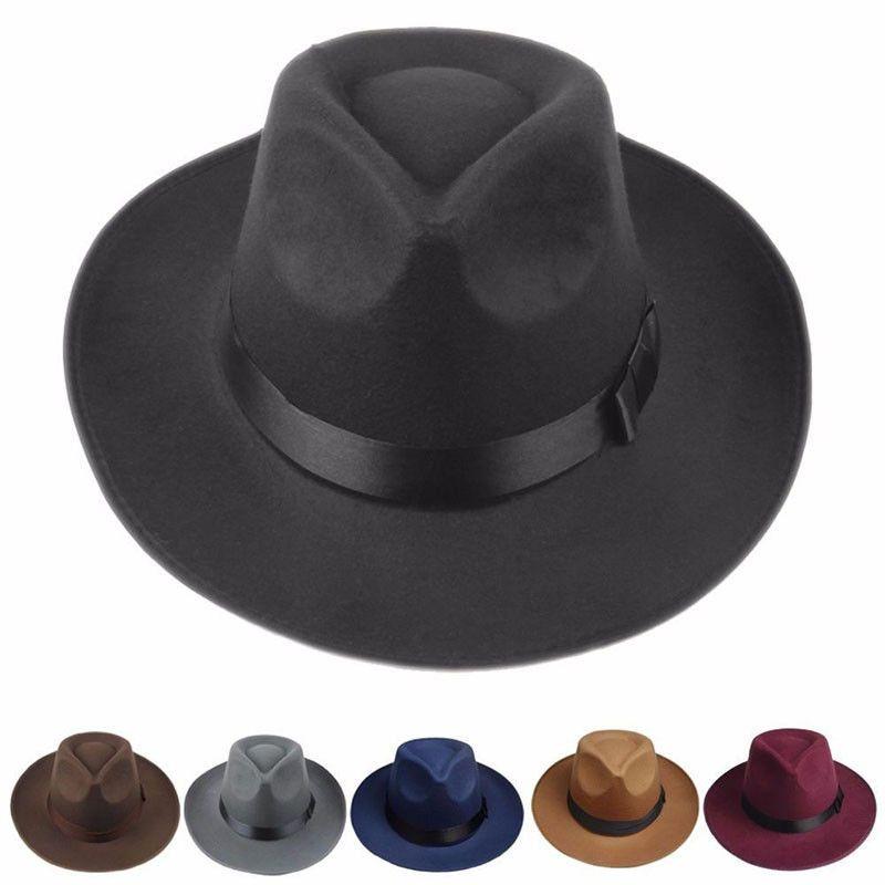 Men Women Retro Wide Brim Hard Felt Hat Panama Hat Gangster Cap Fashion Hat