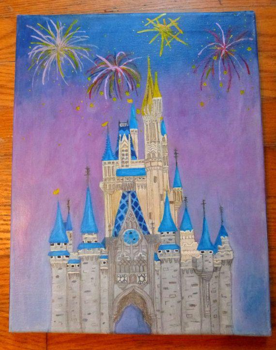 Hand Painted Disney World 39 S Cinderella 39 S Castle 11 Quot X14 Quot Wall Art Canvas Disney Canvas Disney Canvas Art Disney Paintings