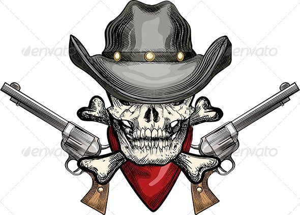 Skeleton Cowboy With Skull And Hat Aiming Guns Stock Vector - Illustration  of head 29ddd042cd75