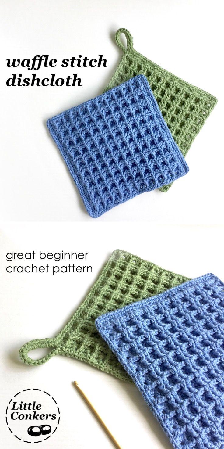 Crochet Dishcloth Pattern / Beginner Crochet Pattern Waffle ...
