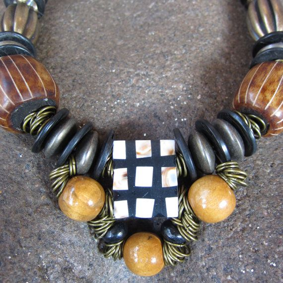 Statement Necklace Chunky Necklace Trade Beaded by YokaWright