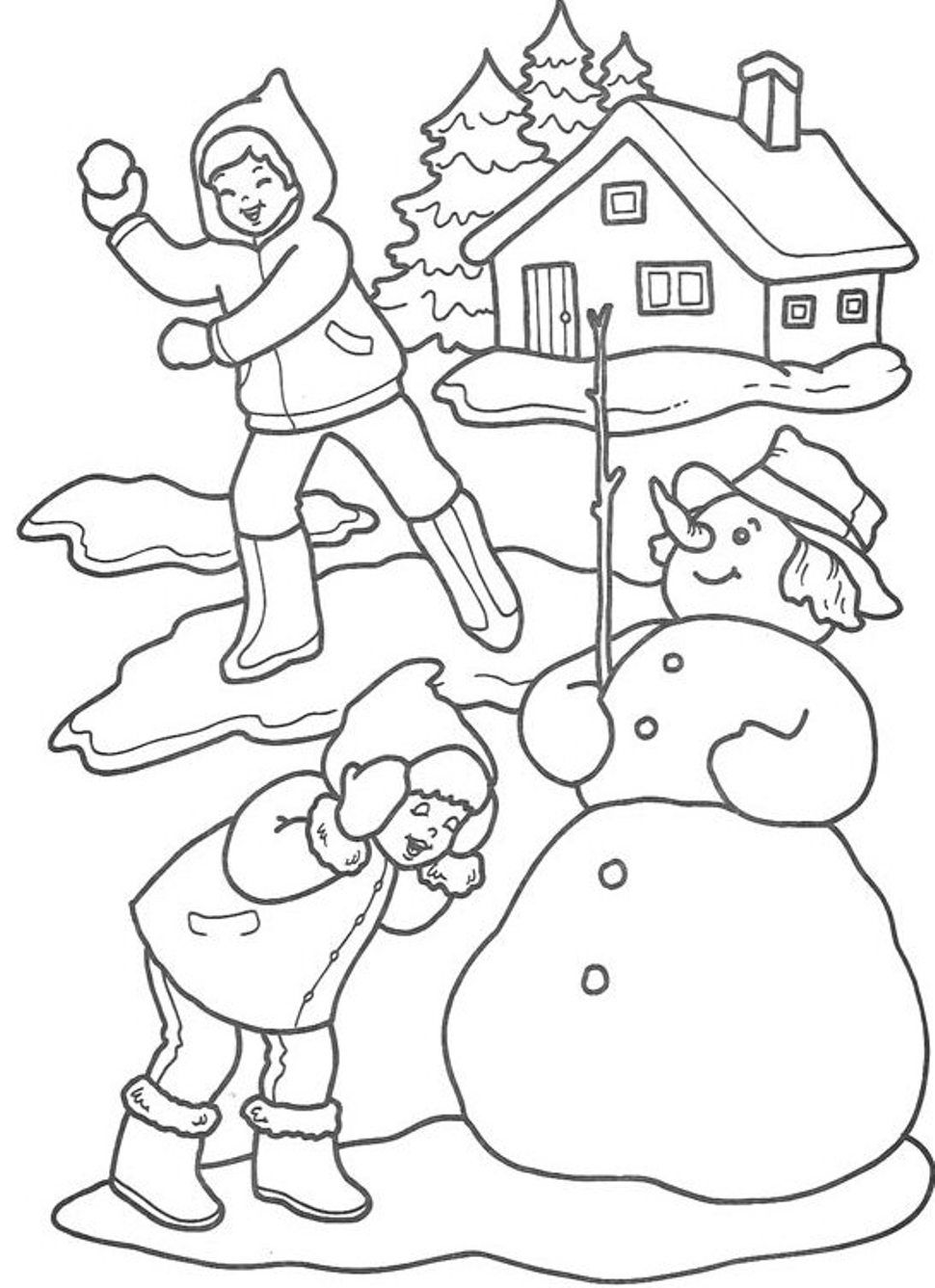 Elegant Winter Coloring Pages To Print