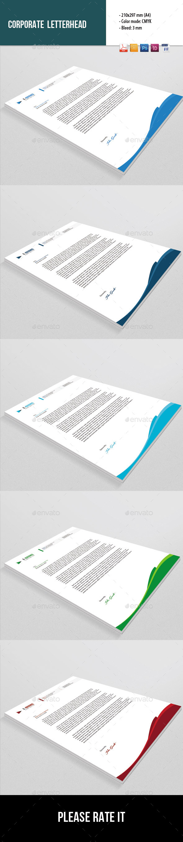 Corporate Letterhead Template  Letterhead Template Stationery