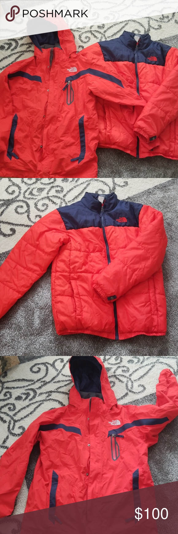 ed4e9ebe6 The North Face triclimate boys coat Bright red and navy blue the ...
