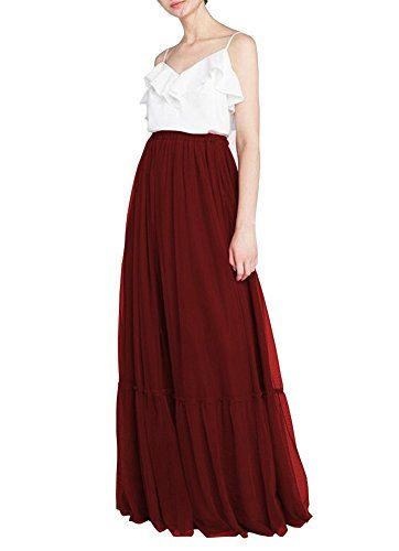 cd6e87a10b CoutureBridal Tulle Bridal Prom Floor Length Maxi Skirts Wine Red