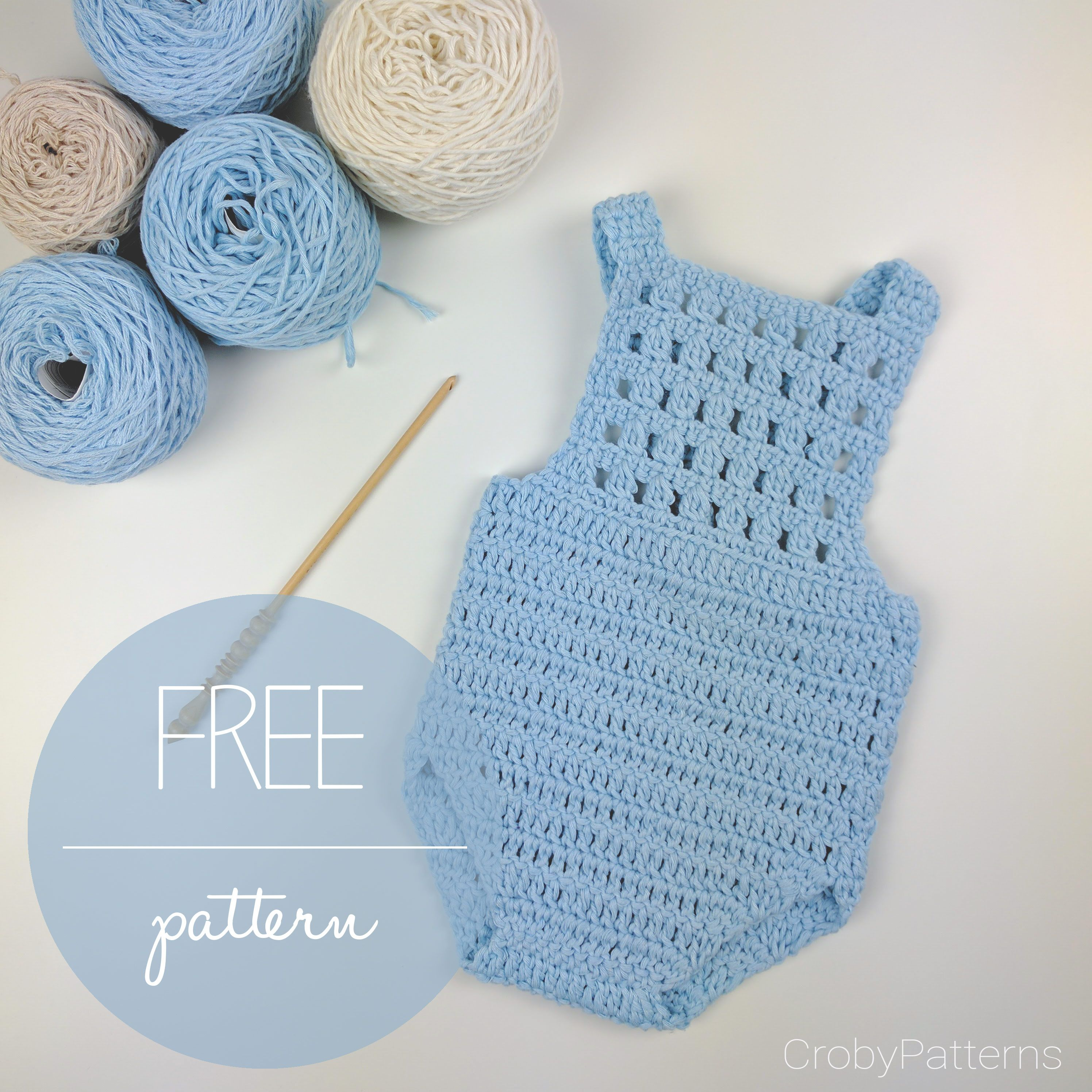 Free Crochet Patterns Baby Outfits : Crochet Baby Romper Blue Orchid ? Free Crochet Pattern ...