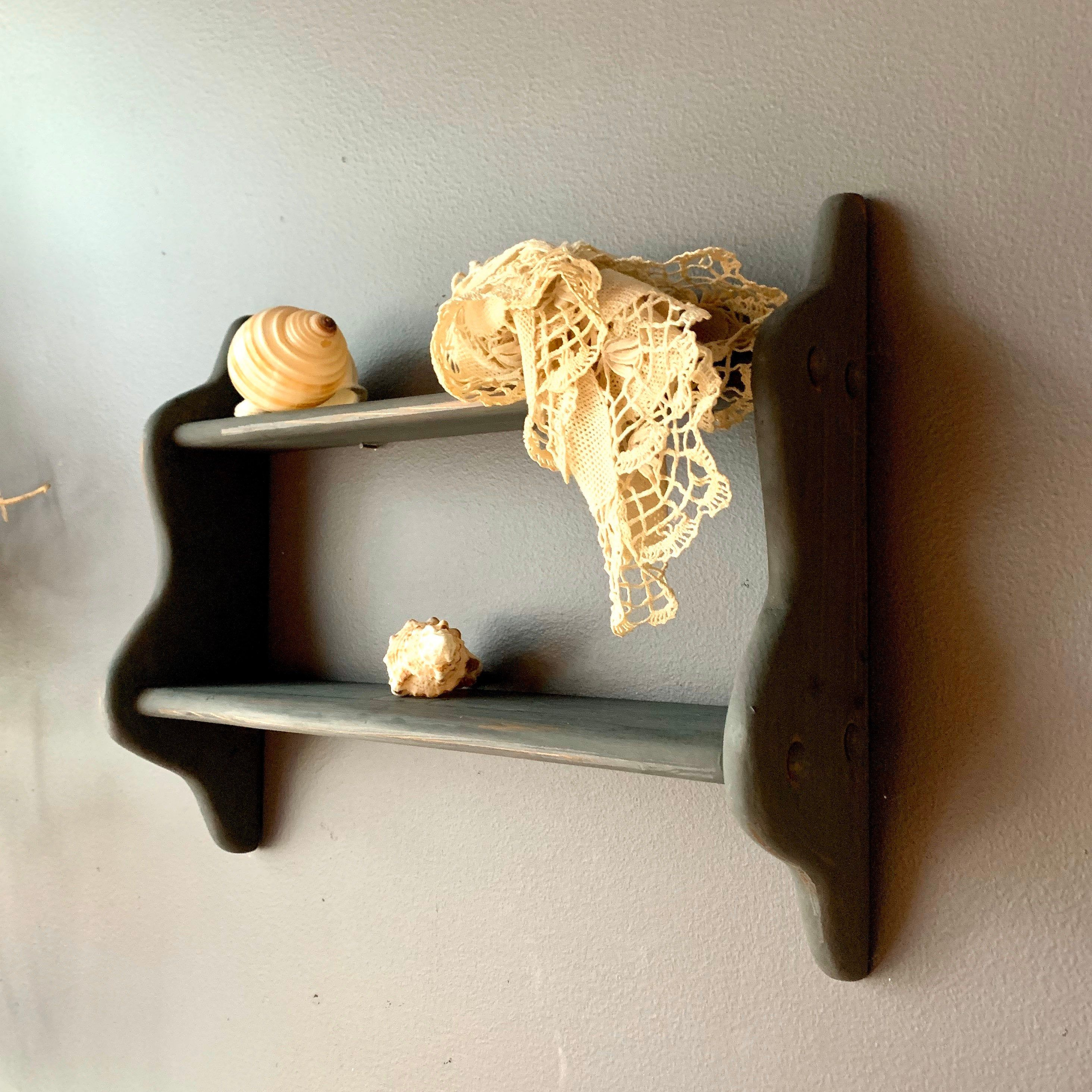 Very Small Wooden Shelf Of 2 Tiers Painted In Matte Black Etsy In 2020 Small Wooden Shelf Wooden Shelves Wood Shelves