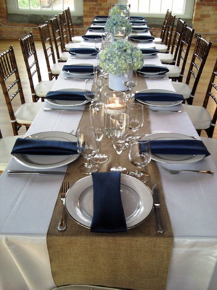 Image Result For Ivory Tablecloth Navy Napkins Burlap Runner