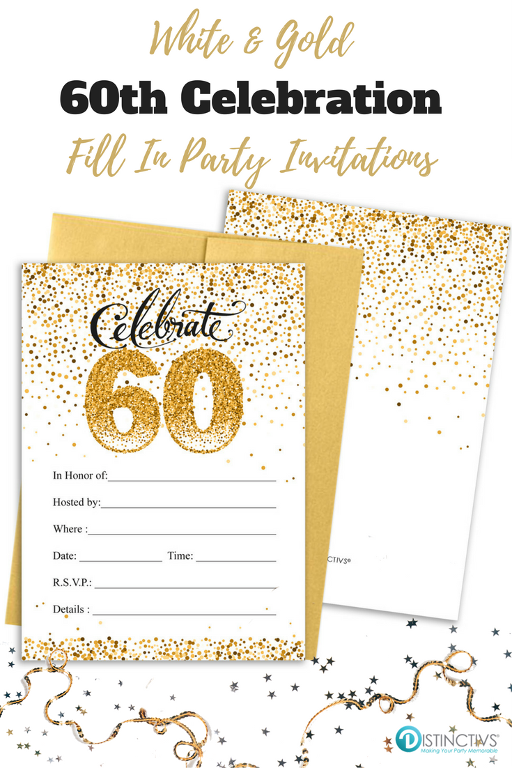 White And Gold 60th Birthday Party Invitation Cards With Envelopes 10 Count 60th Birthday Party Invitations Party Invitations 70th Birthday Invitations