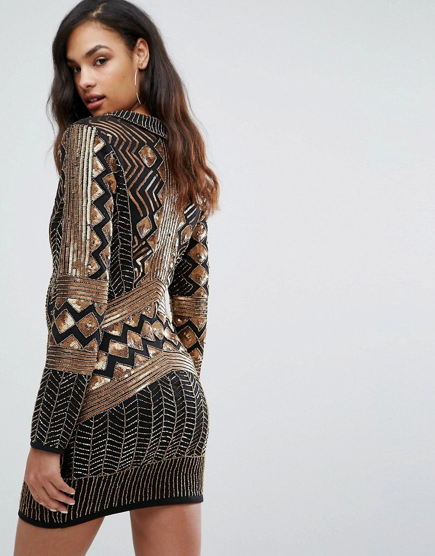 Starlet wrap front embellished mini dress with long sleeves black