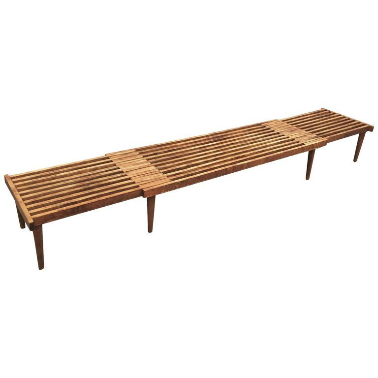Expandable Danish Mid Century Modern Slat Bench From A Unique Collection Of Antique And Modern Benches At Ht Diy Wood Bench Wood Bench Furniture Design Chair