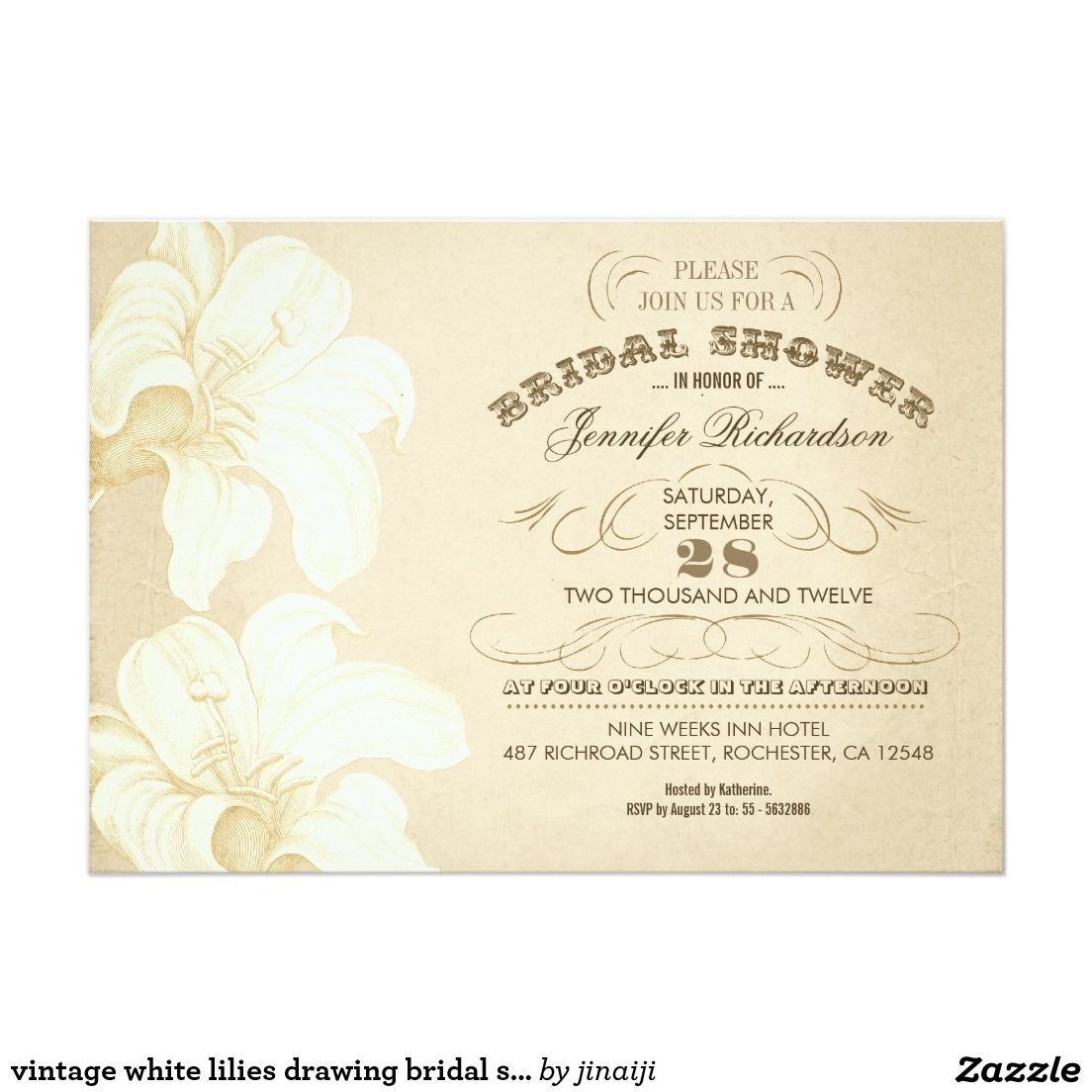 Vintage White Lilies Drawing Bridal Shower Invites Zazzle