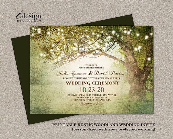 091b993cae203 Rustic Woodland Wedding Invitation With String Lights | Diy ...