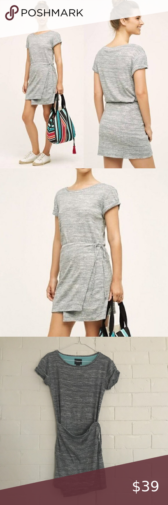 Anthropologie Maeve Gray T Shirt Wrap Dress Xs Wrap Dress Dresses Xs Clothes Design [ 1740 x 580 Pixel ]