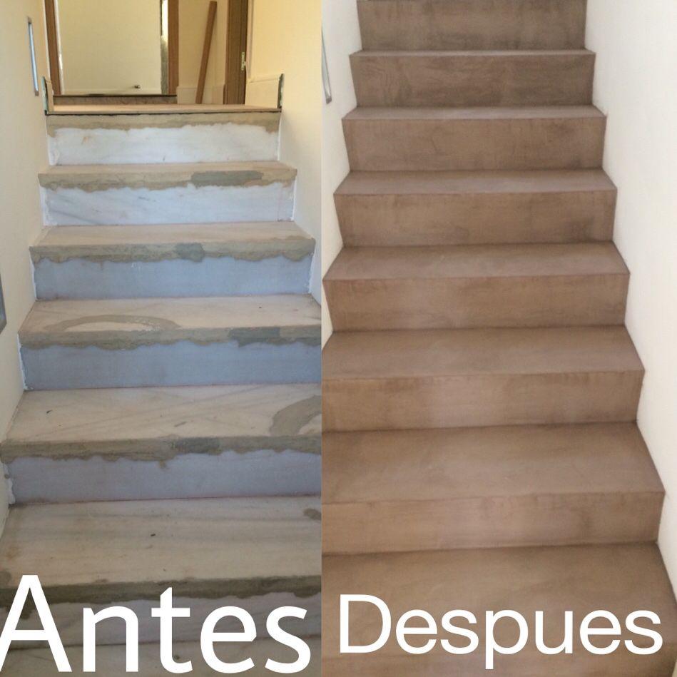 Escaleras cubiertas con cemento pulido realcem www for Cemento pulido exterior