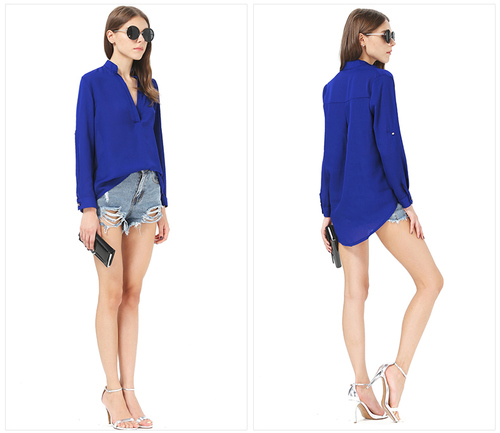 http://www.business-lister.com , New Arrivals : 2015 chiffon V-neck long-sleeved shirt GHL5178 #chiffon shirt
