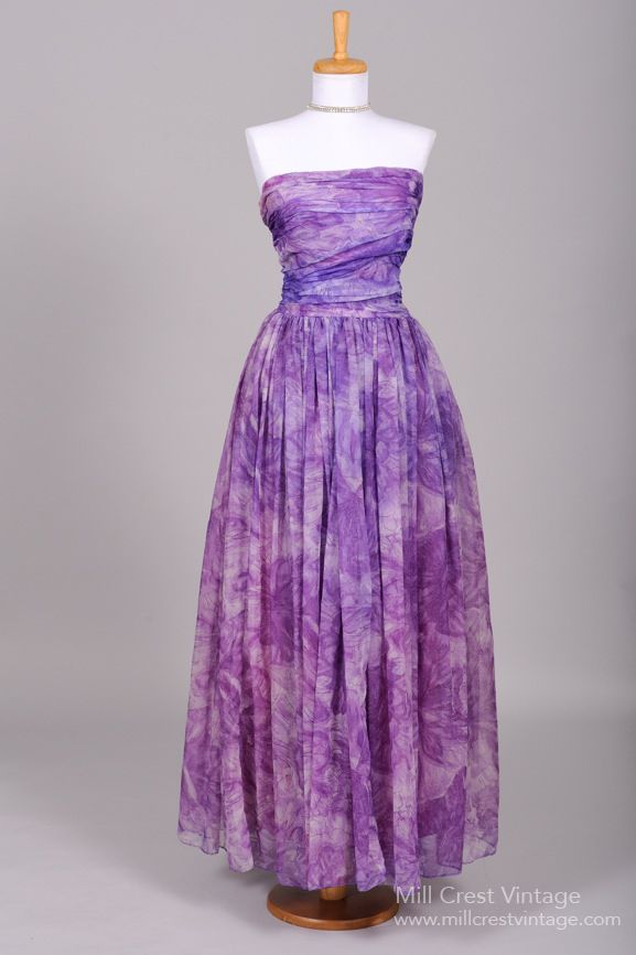 1950\'s Purple Watercolor Strapless Vintage Evening Gown : Mill Crest ...