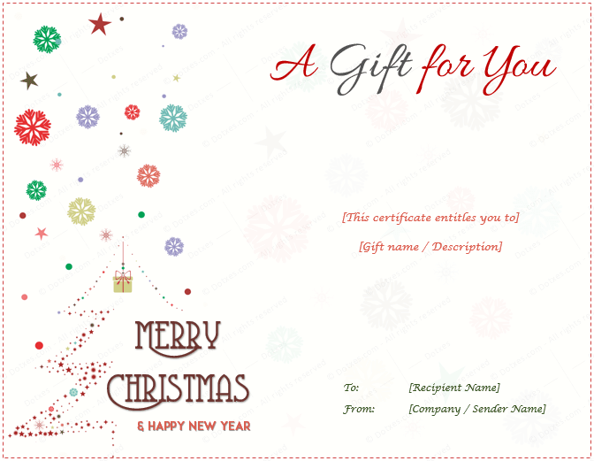 Christmas Gift Certificate Template For Your Boss Gift Certificate