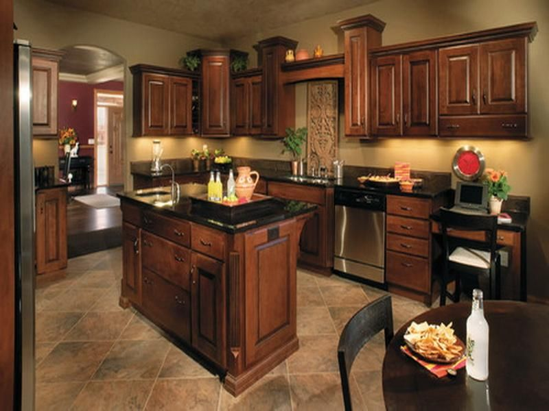 Lovely Brown Cabinets Grey Walls