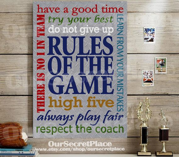 Sports Wall Decor rules of the game boys wall art teen boys wall decor teen boys