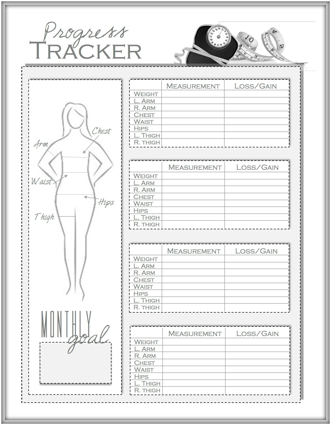 weight loss and measurement progress tracker weightlosstips