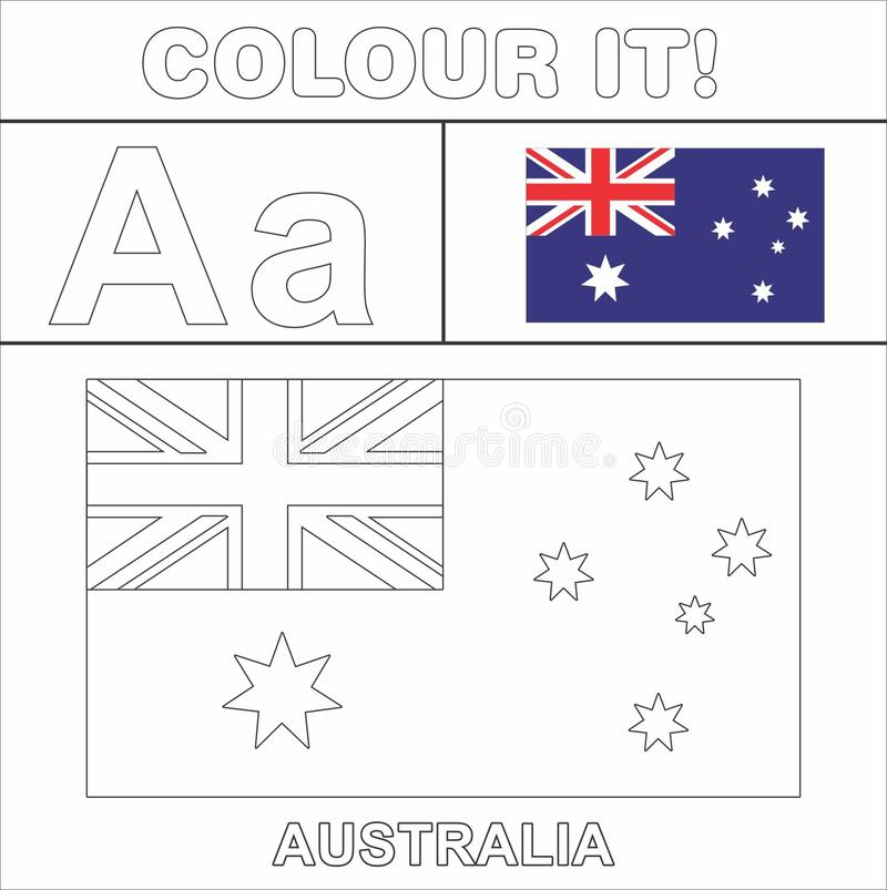 Colour It Vector Kids Stuff Coloring Page Country Start From English Latter A Australia Flag Illustration Colour It In 2021 Flag Art Australia Flag Drawing For Kids