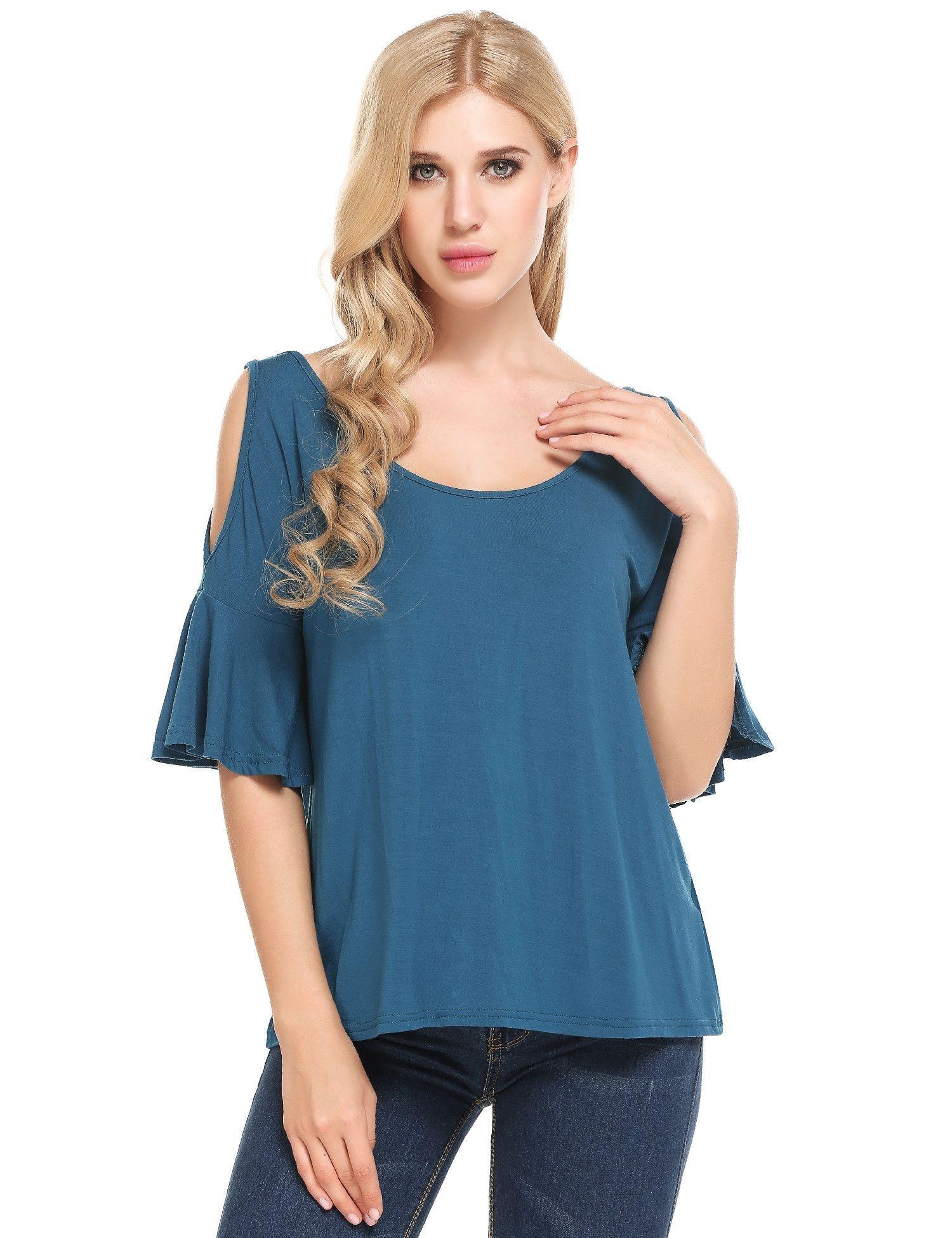 Blue boat neck flare sleeve off shoulder elastic tshirt